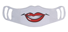 A washable and reusable white polyester red hot lips smiling mouth printed cloth face mask with two ear holes by each side